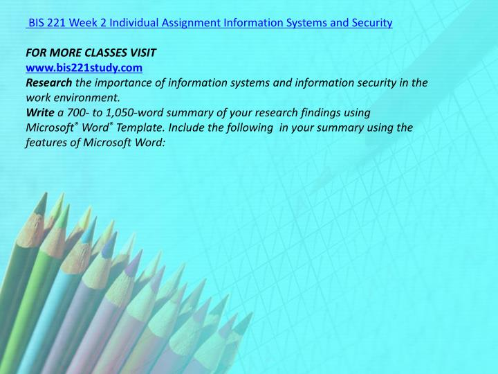 BIS 221 Week 2 Individual Assignment Information Systems and Security
