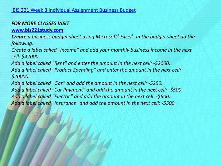 BIS 221 Week 3 Individual Assignment Business Budget