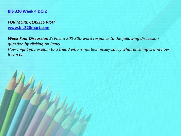 BIS 320 Week 4 DQ 2