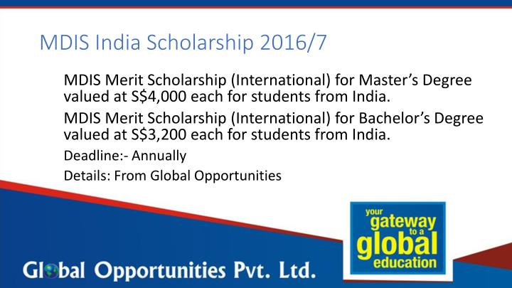 MDIS India Scholarship 2016/7