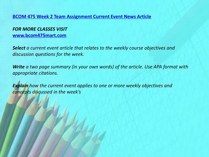 BCOM 475 Week 2 Team Assignment Current Event News Article