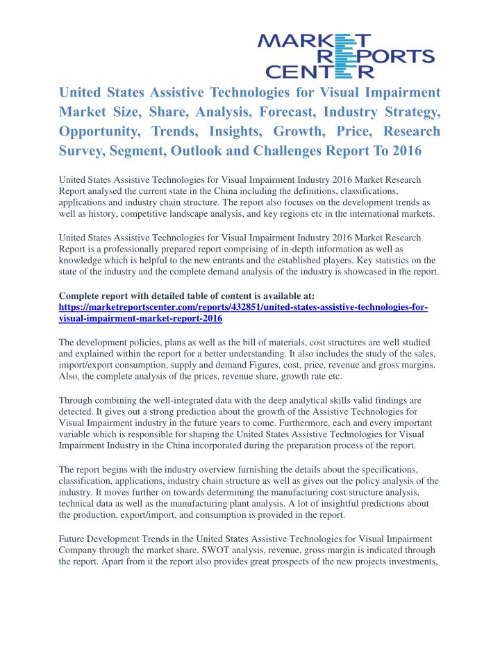 United States Assistive Technologies for Visual Impairment