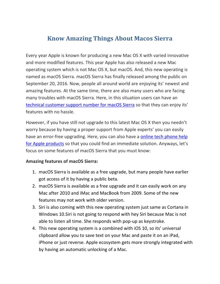 Know Amazing Things About Macos Sierra
