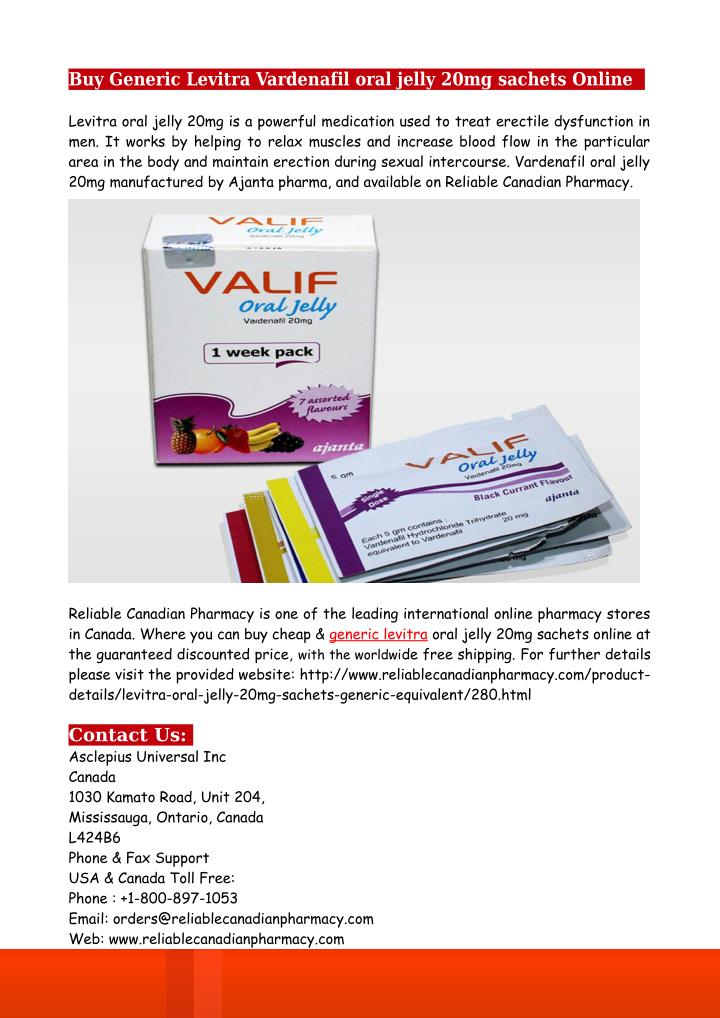 Buy Generic Levitra Vardenafil oral jelly 20mg sachets Online