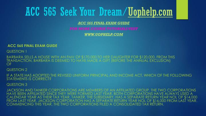 Acc 565 seek your dream uophelp com1