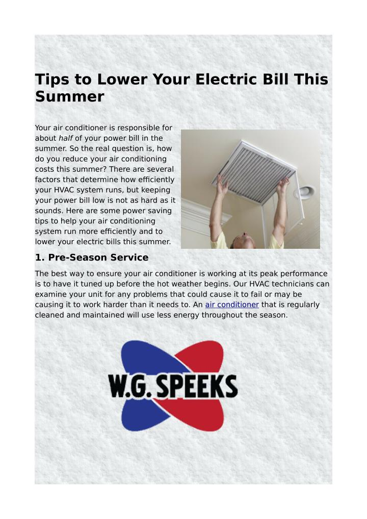 Tips to Lower Your Electric Bill This