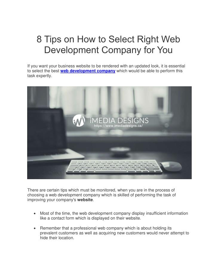 8 Tips on How to Select Right Web