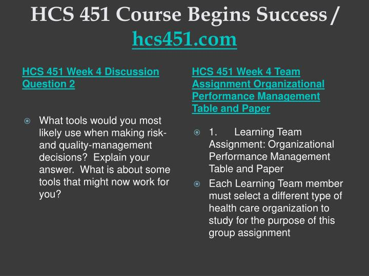HCS 451 Course Begins Success /
