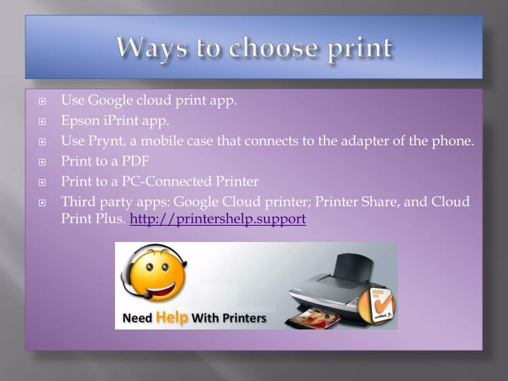 Ways to choose print