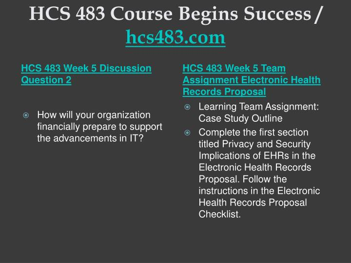 HCS 483 Course Begins Success /