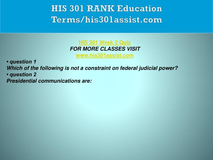 HIS 301 RANK Education Terms/his301assist.com