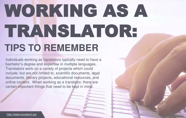WORKING AS A TRANSLATOR: