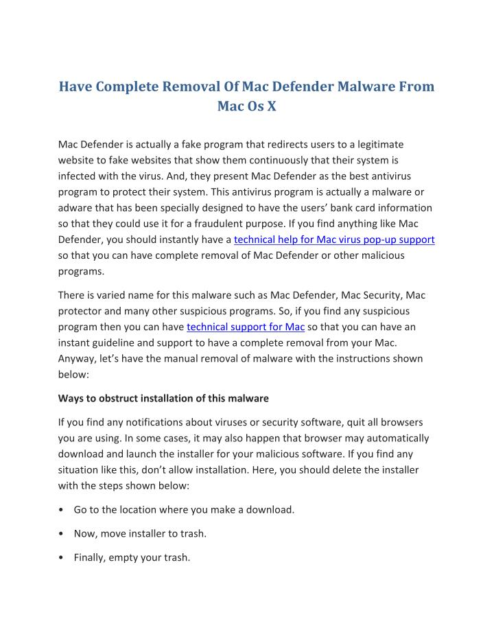 Have Complete Removal Of Mac Defender Malware From