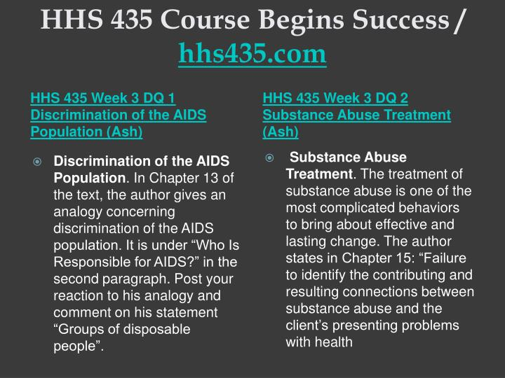 HHS 435 Course Begins Success /