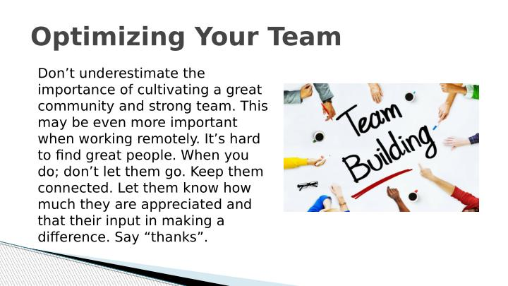 Optimizing Your Team