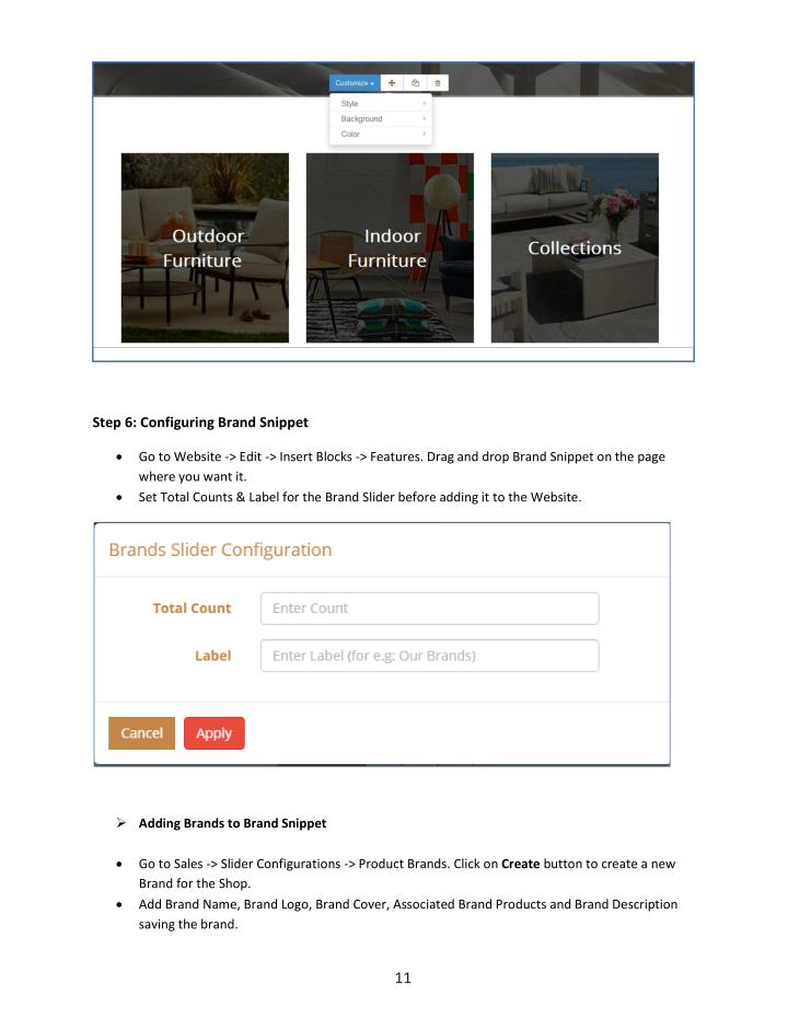 Step 6: Configuring Brand Snippet