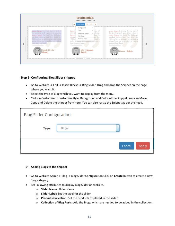 Step 9: Configuring Blog Slider snippet