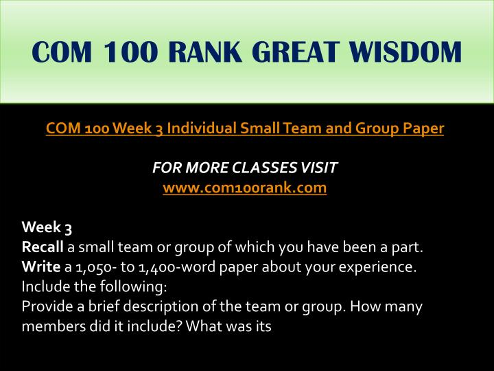 COM 100 RANK GREAT WISDOM