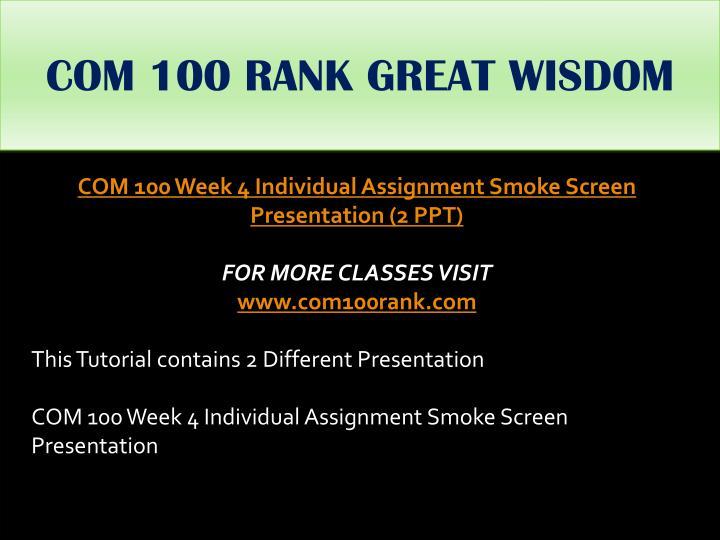 COM 100 RANK GREAT WISDOM