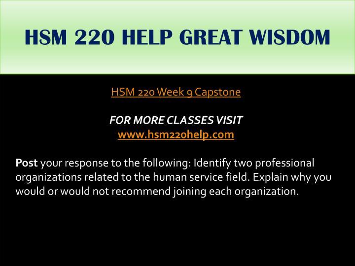HSM 220 HELP GREAT WISDOM
