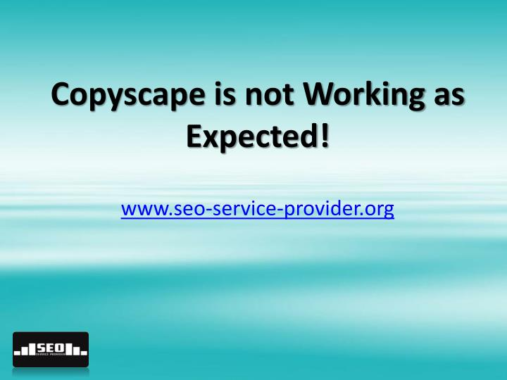 Copyscape is not working as expected www seo service provider org
