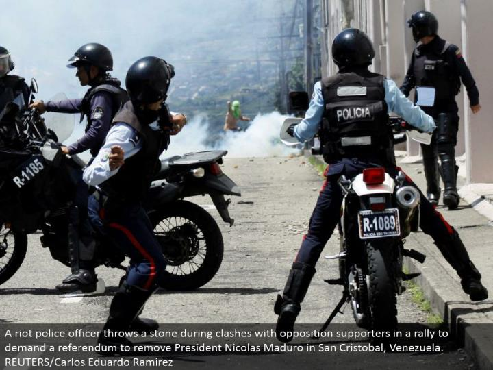 A revolt cop tosses a stone amid conflicts with restriction supporters in a rally to request a submi...