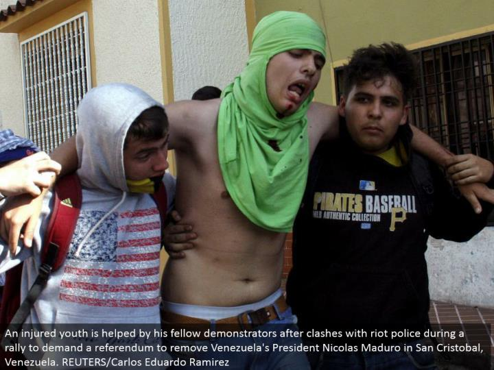 An harmed youth is aided by his kindred demonstrators after conflicts with mob police amid a rally t...