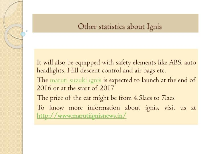 Other statistics about Ignis