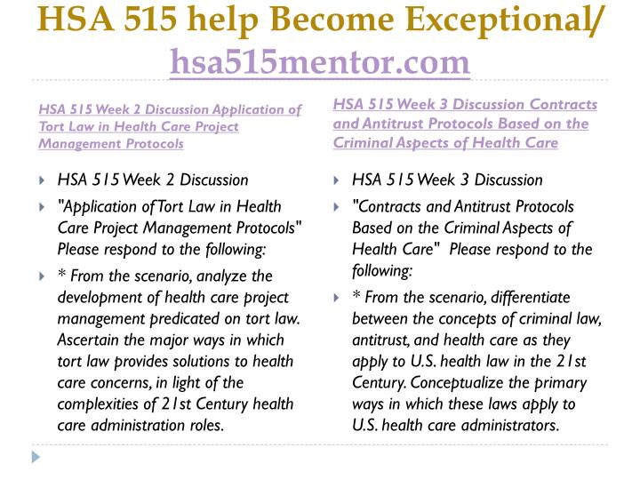 HSA 515 help Become Exceptional