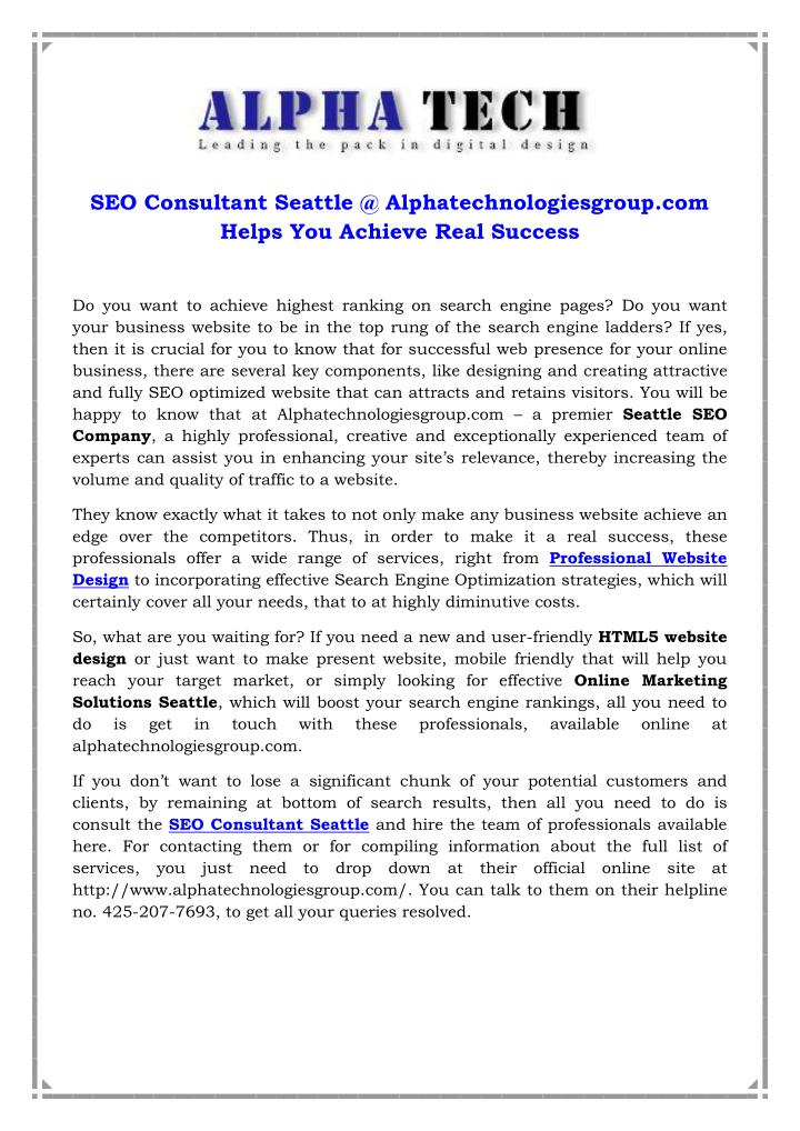 SEO Consultant Seattle @ Alphatechnologiesgroup.com