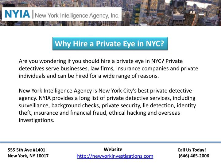 Why Hire a Private Eye in NYC?