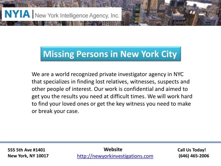Missing Persons in New York City