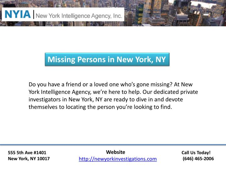 Missing Persons in New York, NY
