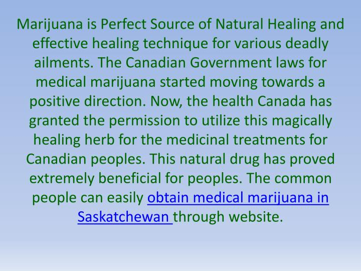 Marijuana is Perfect Source of Natural Healing and effective healing technique for various deadly ai...