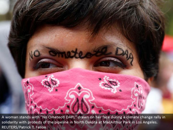 "A lady remains with ""No Ometeotl DAPL"" drawn all over amid an environmental change rally in solidarity with challenges of the pipeline in North Dakota at MacArthur Park in Los Angeles. REUTERS/Patrick T. Fallon"