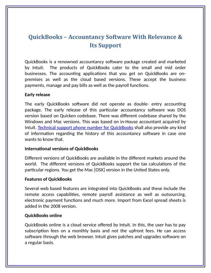 QuickBooks – Accountancy Software With Relevance &