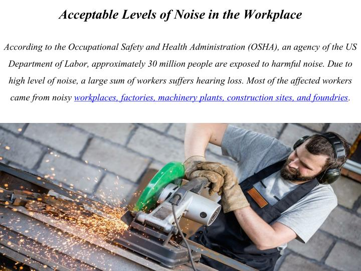 Acceptable Levels of Noise in the Workplace