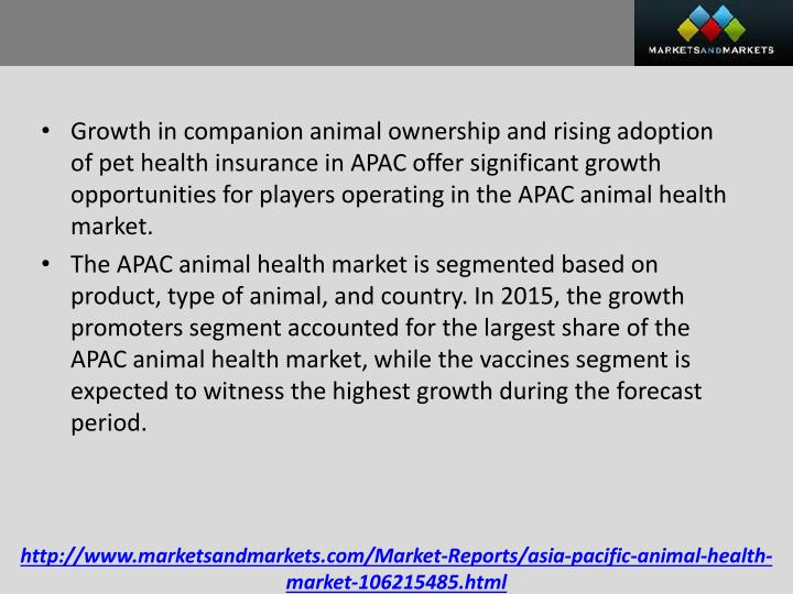 Growth in companion animal ownership and rising adoption of pet health insurance in APAC offer significant growth opportunities for players operating in the APAC animal health market
