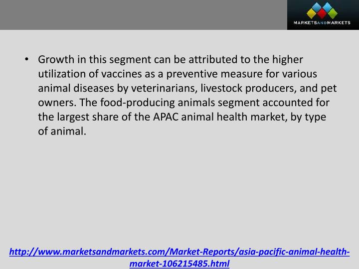 Growth in this segment can be attributed to the higher utilization of vaccines as a preventive measure for various animal diseases by veterinarians, livestock producers, and pet owners. The food-producing animals segment accounted for the largest share of the APAC animal health market, by type of animal.