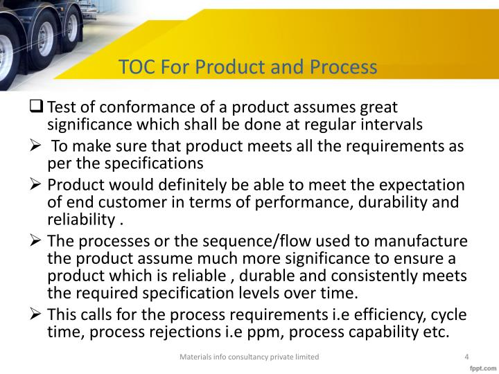 TOC For Product and Process
