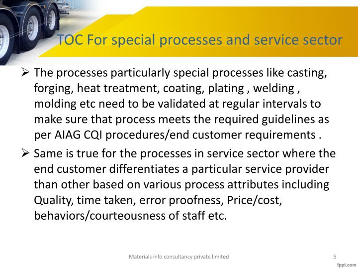 TOC For special processes and service sector