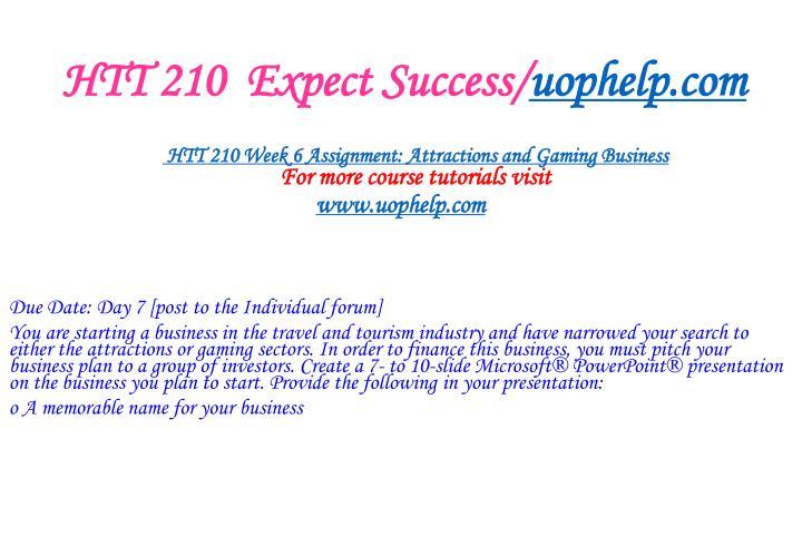 HTT 210  Expect Success/