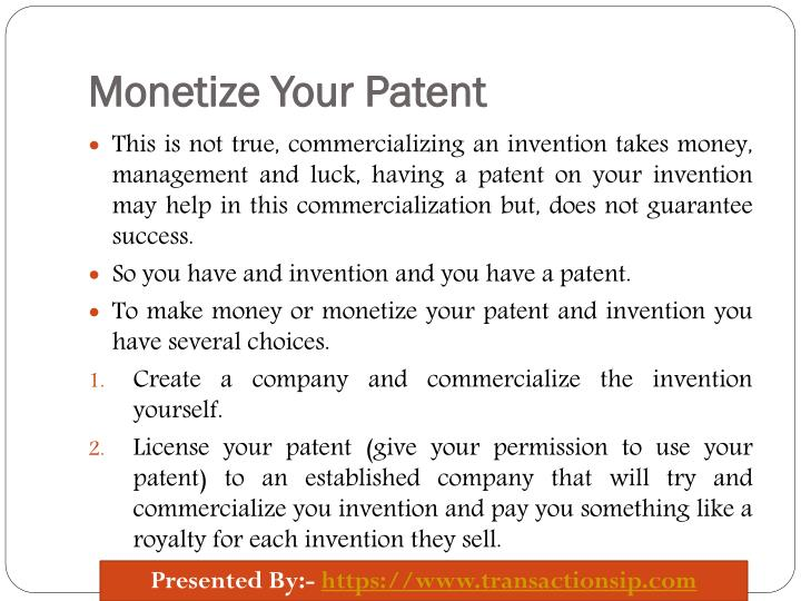 Monetize Your Patent
