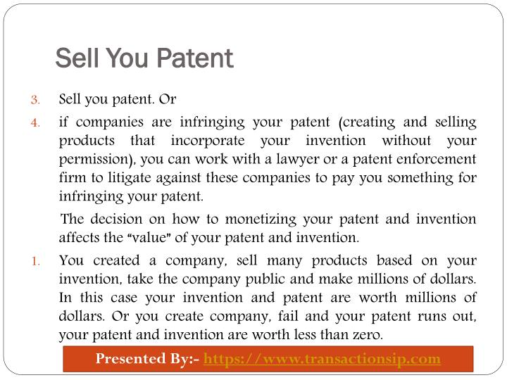 Sell You Patent