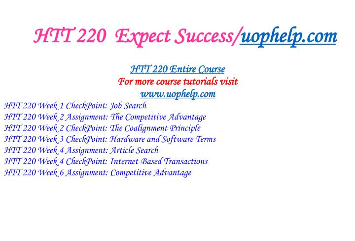 Htt 220 expect success uophelp com1