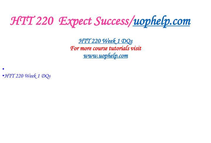 HTT 220  Expect Success/