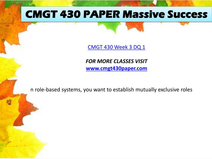 CMGT 430 PAPER Massive Success