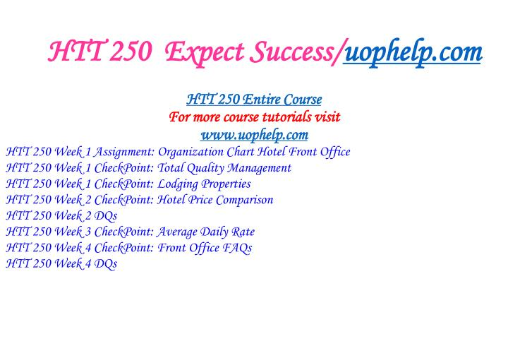 Htt 250 expect success uophelp com1