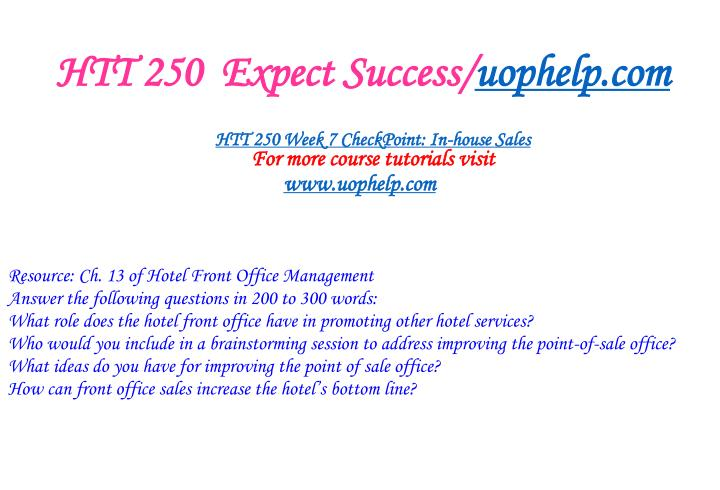 HTT 250  Expect Success/