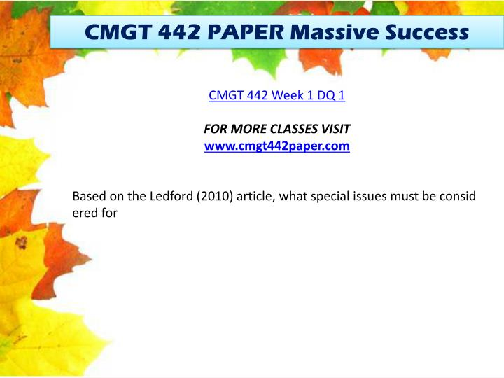 CMGT 442 PAPER Massive Success